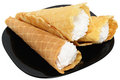 Three waffle cone Stock Photo
