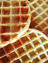 Three waffles closeup view of freshly made Royalty Free Stock Images