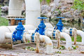 Three water valves Stock Photo