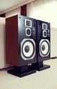 Three Way Big Audio Stereo Loud Speaker Closeup, loudspeaker pair Royalty Free Stock Photo