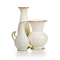 Three white vases group of old porcelain on background Royalty Free Stock Photo