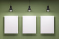 Three whiteboards over the green wall tree and lamps Royalty Free Stock Image