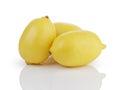 Three whole ripe lemons isolated on white with reflection Royalty Free Stock Image