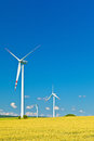 Three wind turbines and blue sky Stock Image