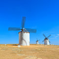 Three windmills. Castile La Mancha, Spain. Royalty Free Stock Photos