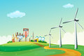 Three windmills at the hilltop across the high buildings illustration of Royalty Free Stock Images