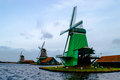 Three Windmills on Zaanse Schans Royalty Free Stock Photo