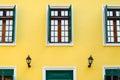 Three window balance and hotel detail yellow Stock Photography