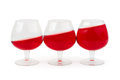 Three wine glasses on white background Stock Image