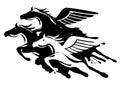 Three winged horses Royalty Free Stock Photo