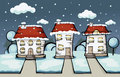 Three winter vector house cartoon surrounded by greenery Royalty Free Stock Images