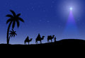 Three wise men and christmas star on night background illustration Royalty Free Stock Photo