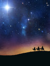 Three wise men following the star of bethlehem Royalty Free Stock Images