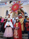 Three wise men lublin poland the traditional parade of the bibilical january th Royalty Free Stock Photography