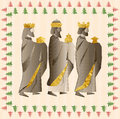 three wise men or three kings. Nativity illustration Christmas c Royalty Free Stock Photo