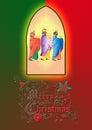 three wise men or three kings. Nativity illustration. Royalty Free Stock Photo
