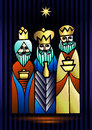 Three Wise Men are visiting Jesus Christ after His birth