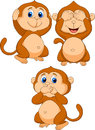 Three wise monkey cartoon Royalty Free Stock Photo