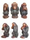 Three Wise Monkeys - wooden Royalty Free Stock Photo