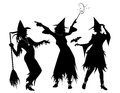 Three witch silhouettes of exuberant witches Stock Photography