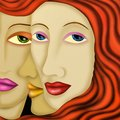 Three women abstract faces of Stock Photo