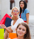 Three Women in City Royalty Free Stock Photo