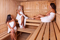 Three women enjoying a hot sauna Stock Photos
