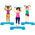 Three women exercise beautiful active doing aerobic with dumbbell and steps Royalty Free Stock Photography