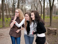 Three wondered teenage girls Royalty Free Stock Photo