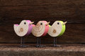 Three Wooden Toy Birds Decoration Rough Background Royalty Free Stock Photo