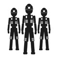 Three workers Vector black icon on white background.