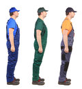Three workers wich are looking at the same direction Royalty Free Stock Images