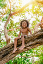 Three years old child sitting on a tree brunch in the jungle forest having fun outdoors Royalty Free Stock Photo