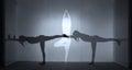 Three Yoga Silhouettes Royalty Free Stock Photo