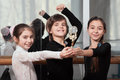 Three young dancers won cup Stock Photography
