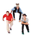 Three young handsome teenagers with a modern clothes Stock Images
