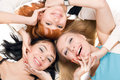 Three young playful women Royalty Free Stock Image