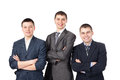 Three young smiling business men Stock Images