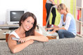 Three young woman at home women relaxong Royalty Free Stock Photo