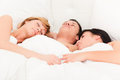 Threesome couple Stock Photography