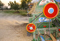 Threshing of wheat in a village Royalty Free Stock Photo