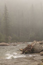 Thresholds on the foggy mountain river. Royalty Free Stock Photo