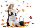 Thrilled with Falling Leaves Royalty Free Stock Photo