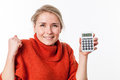 Thrilled young blond woman with symbol of economic independence successful savings smiling holding her calculator for isolated Stock Photography