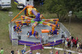 Thrilling ride at a fair people wait for this to start indiana usa carnival Royalty Free Stock Images