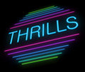 Thrills sign illustration depicting an illuminated neon Royalty Free Stock Image