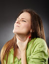 Throat pain and flu young caucasian woman with a severe Royalty Free Stock Image