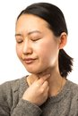Throat pain young asian woman with on white background Stock Images