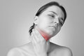 Throat pain Royalty Free Stock Photo