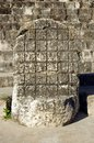 The throne in front of nuns house in uxmal mayan city mexico Royalty Free Stock Photography